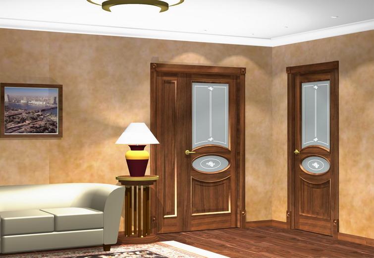 Фотография межкомнатной двери, выполненной из массива