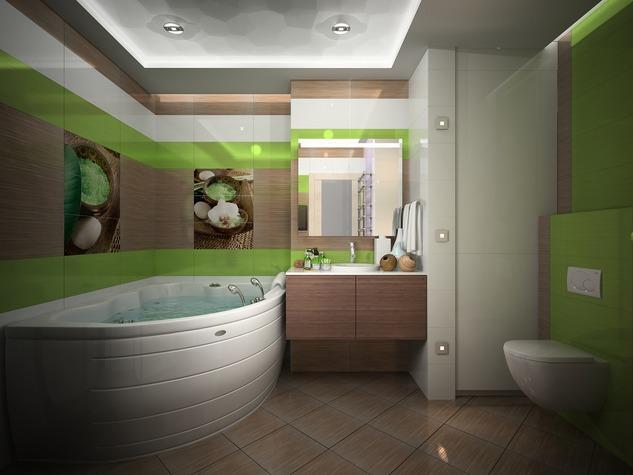Зеленая ванная комната дизайн2