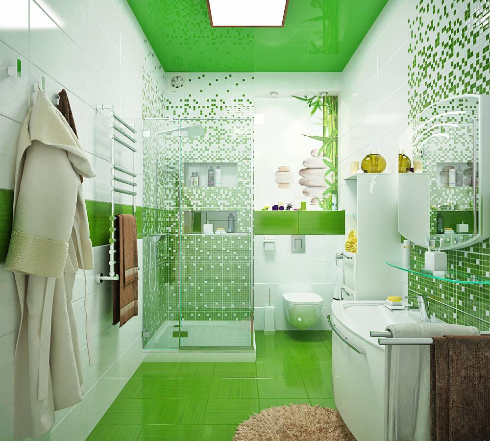 Зеленая ванная комната фото2