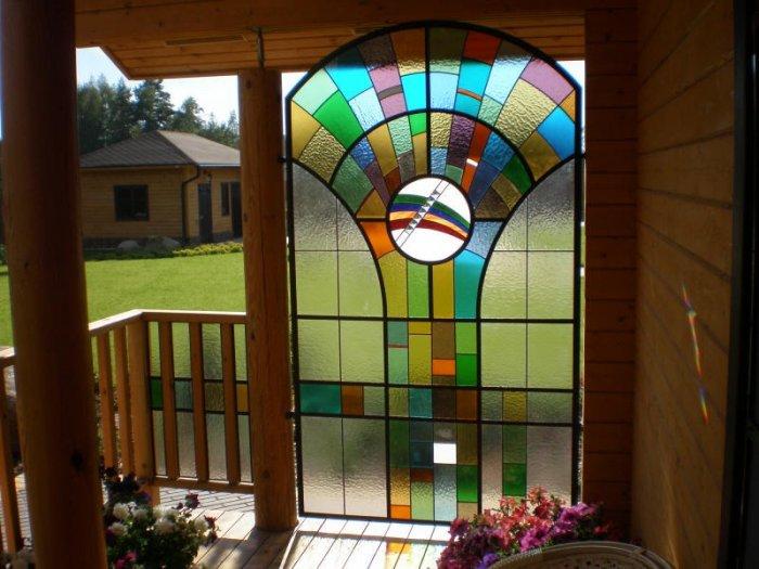 Цветной витраж дома фото3